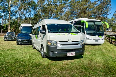 Some of Lonestars buses and coaches available for hire on the Gold coast